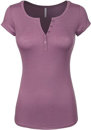 Design by Olivia Women's Basic Henley Short Sleeve Deep V-Neck Button Placket T-Shirt Antique Rose S at Amazon Women's Clothing store