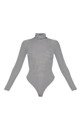 MONOCHROME STRIPE RIB HIGH NECK LONG SLEEVE BODYSUIT.jpg (740×1180)