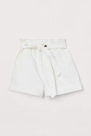 Denim Paper-bag Shorts - White