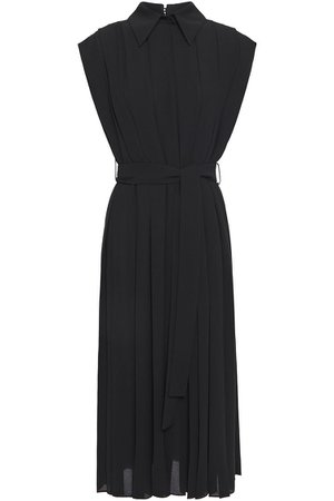Black Evanthe pleated crepe midi dress | Sale up to 70% off | THE OUTNET | EMILIA WICKSTEAD | THE OUTNET