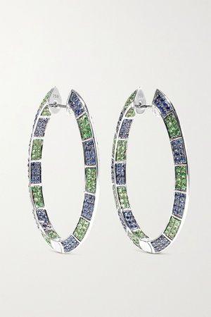 White gold 18-karat white gold, sapphire and tsavorite earrings | OFIRA | NET-A-PORTER