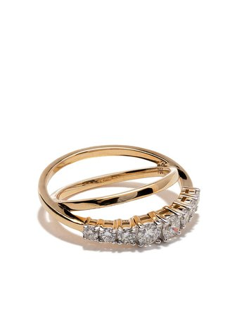 AS29 18kt yellow gold Icicle diamond double ring