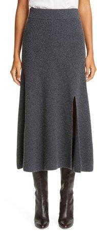 Rib Slit Cashmere Skirt