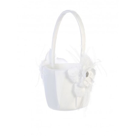 Tip Top Kids Girls White Flower Feather Accent Stylish Flower Girl Basket - Sophia's Style