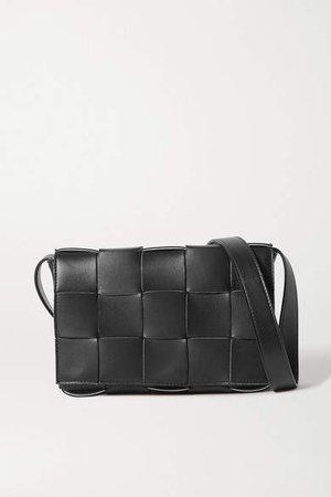 Intrecciato Leather Shoulder Bag - Black
