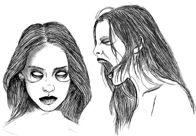 Screaming Girls Blackwork Sketch