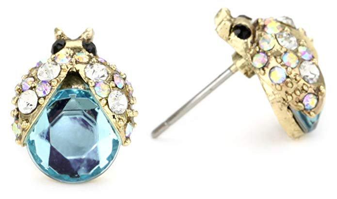 """Betsey Johnson """"Iconic Enchanted Garden"""" Crystal Bug Stud Earrings: Jewelry"""