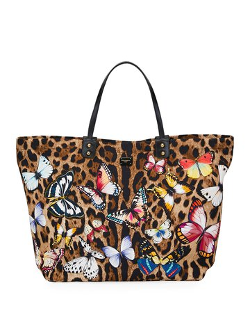 Dolce & Gabbana Leopard-Print Tote Bag with Butterfly | Neiman Marcus