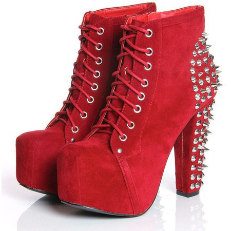 Red Platform Lita Ankle Boots w/ Spikes