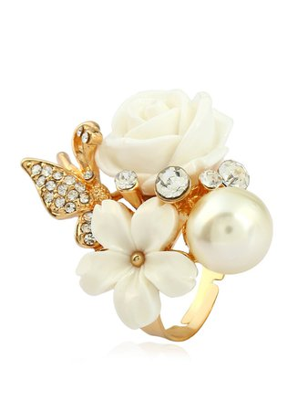 Faux Pearl & Flower Ring