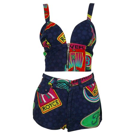 Versace Jeans Couture Vintage Car Brands Logos Shorts and Bra Ensemble For Sale at 1stDibs