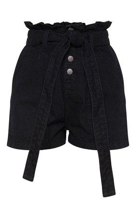 Black Paperbag Denim Shorts | PrettyLittleThing