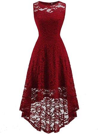 Amazon.com: FAIRY COUPLE Women's Halter Hi-Lo Floral Lace Cocktail Party Bridesmaid Dress: Clothing