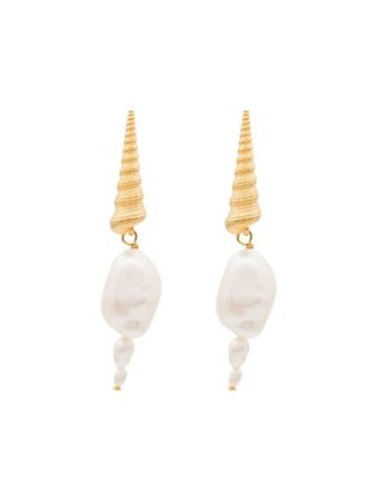 Anni Lu Shell Pearl Drop Earrings - Farfetch