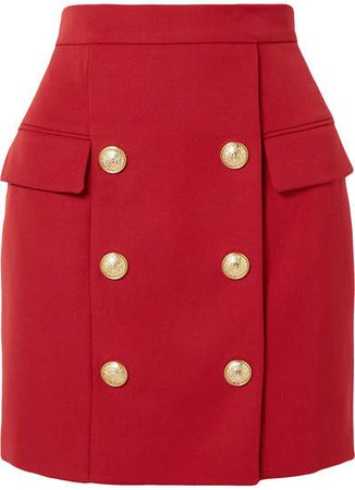 Button-embellished Wool-piqué Mini Skirt - Red
