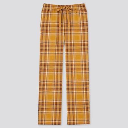 WOMEN FLANNEL PANTS   UNIQLO US yellow