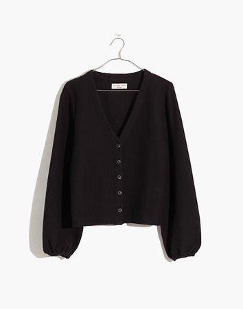 Bubble-Sleeve Cardigan Top