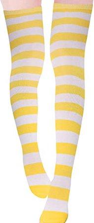 ZANZEA Womens Over Knee Thigh High Socks Long Striped Stocking Yellow White One Size at Amazon Women's Clothing store