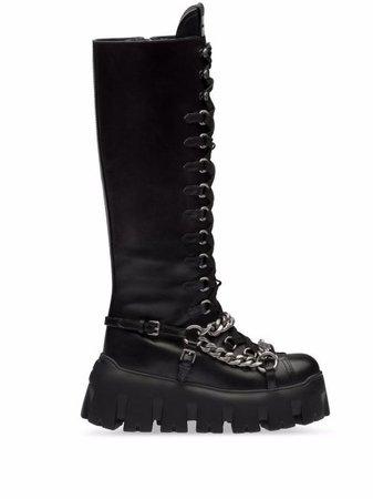 Miu Miu chain-detail lace-up boots