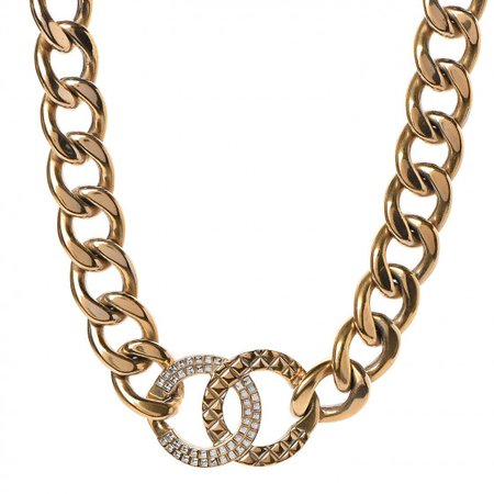 CHANEL Crystal Chain Link CC Choker Necklace Gold 502991