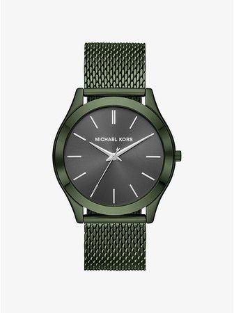 Slim Runway Mesh Olive-tone Watch | Michael Kors