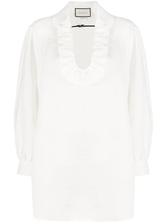 Gucci, ruffled neck blouse
