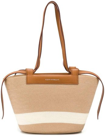 panelled woven tote