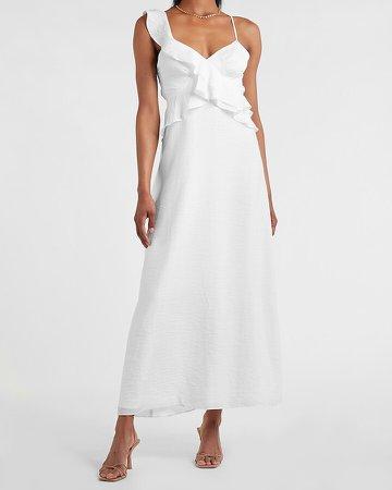 Asymmetrical Ruffle Maxi Dress