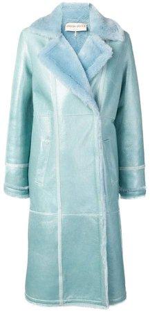 Aqua Blue Shearling Coat
