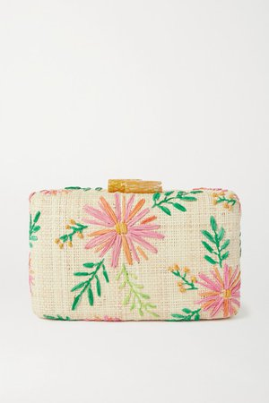 Claire Embroidered Straw Clutch - Pink