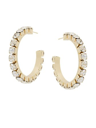 AREA Crystal Embellished Hoop Earrings - Farfetch