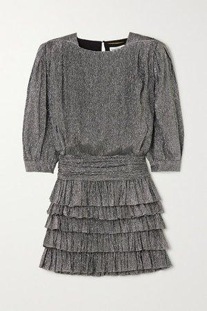 Ruffled Tiered Metallic Silk-blend Mini Dress - Silver