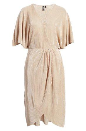 VERO MODA Dagny Metallic Pleated Faux Wrap Dress | Nordstrom