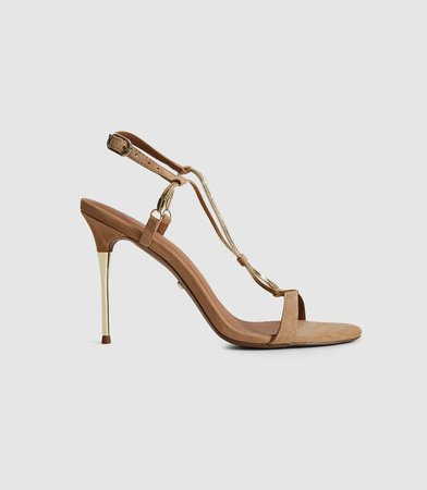 Kendall Gold Chain Detail Heeled Sandals – REISS