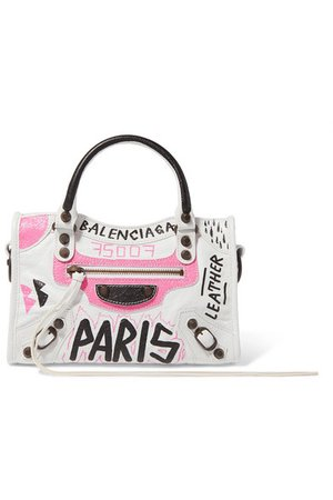 Balenciaga | Classic City mini printed textured-leather tote | NET-A-PORTER.COM
