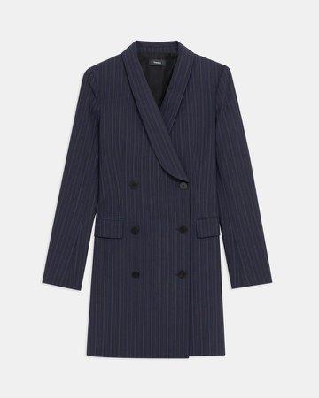 Shawl Blazer Dress in Striped Good Wool