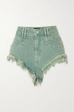 Gray green Eneida frayed denim shorts | Isabel Marant | NET-A-PORTER