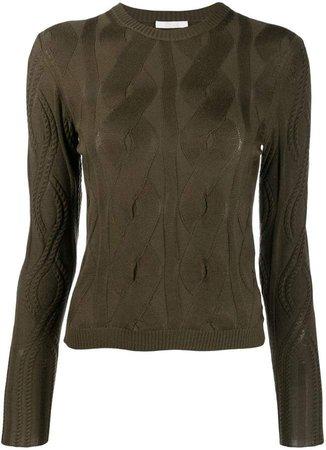pleated long-sleeve top