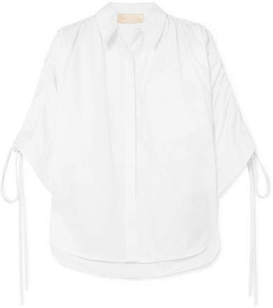 Oversized Ruffled Ruched Cotton-poplin Shirt - White