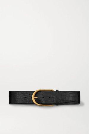 Black Croc-effect leather belt | SAINT LAURENT | NET-A-PORTER