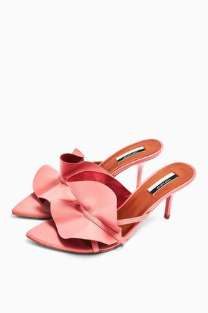 RUFFLE Pink V Point Mules | Topshop