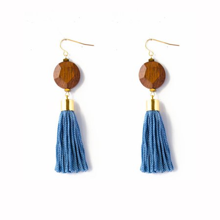 Denim Blue Tassel Earrings | Consume With Love
