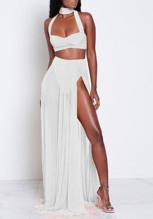 white-patchwork-cut-out-2-in-1-zipper-halter-neck-flowy-bohemian-maxi-dress.jpg (611×873)