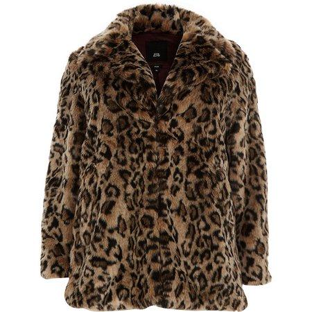 Plus leopard print faux fur coat - Coats - Coats & Jackets - women