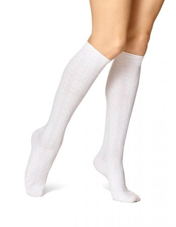 White Cable Knit Knee High Socks