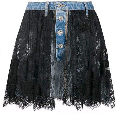 lace-layer denim skirt