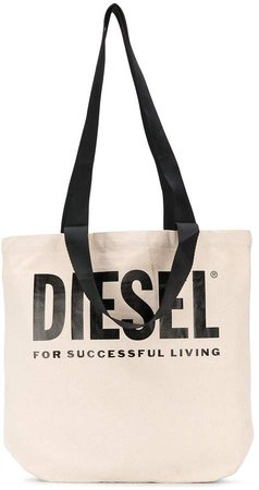 logo print canvas shopper tote