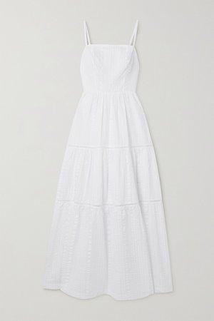 White Tiered cotton-seersucker midi dress | Heidi Klein | NET-A-PORTER