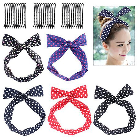 Frcolor Twist Bow Wired Headbands, 5Pack Retro Bowknot Polka Dot Wire Hair Holders with 30Pcs Hairpins | WantItAll