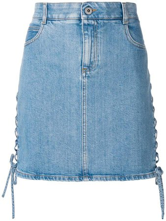 side lace-up denim skirt